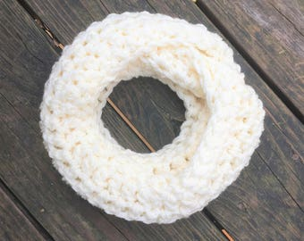 Toddler Infinity Scarf Ivory Winter White Toddler Crochet Infinity Scarf - Matching Boot Cuff Option