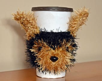 Yorkie Cup Cozy, Cup Cozy, Cup Sleeve, Coffee Cozy, Yorkie Lover Gift, Beverage Cozy,  Drink Cozy, Animal Cup Cozy, Crochet