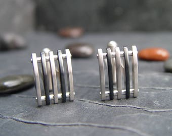 Cuff Links Two Toned Stainless Steel