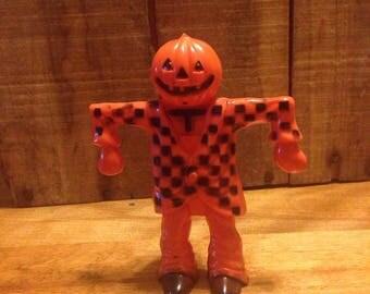Vintage Halloween Pumpkin Head Scarecrow Plastic Figurine
