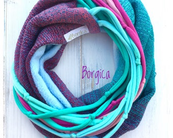 Orion Nebula Handwoven Wrap Srap - Infinity Scarf - Upcycled Circle Scarf - Bohemian Ecofriendly - Babyfriendly Babywearing - Mom Gift