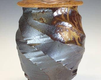 MTO Covered Jar cone 10 - Iridescent Shino & Multiple Wood Ash Glazes