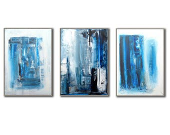 "Set of 3 abstract paintings - each 30"" X 22""  "" modern painting  fine art, acrylic on canvas - total size 66"" x 30"""