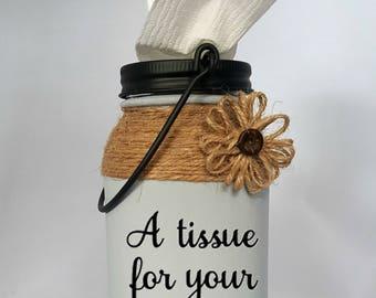 Mason Jar Tissue Holder, Mason Jar Kleenex, Tissue Holder, Kleenex Holder