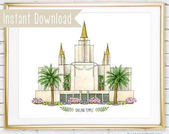 Instant Download Oakland California Temple Watercolor Art Print, Printable, Painting, Wall Decor, Illustration, LDS Temple, Wedding Gift