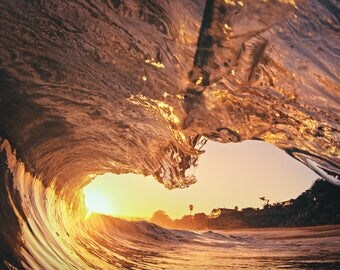Wave Photography: Fine Art Wave Photo Print on Metal, Canvas or Paper. Surf Photography Surfing Wave View in Red Orange and Yellow