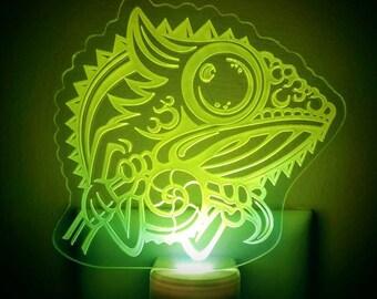 Neon Green Chameleon Night Light - Chameleon Engraved LED Nightlight - Lizard Nightlight - Panther Chameleon Nightlight - Veiled Chameleon