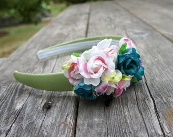 Flower Headband With Turquoise & Red Blossoms
