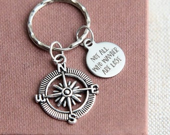 SALE Not All Who Wander Are Lost Keychain, Compass Keychain, Compass Keyring, Travel Keyring, Quote Keyring, Traveller Accessories, Explorer