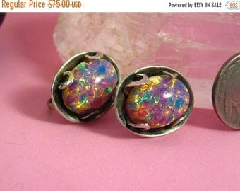 ON SALE Vintage Jewelry Mexican Sterling Silver Colorful Pink Opal Dragon's Breath Earrings Screw On