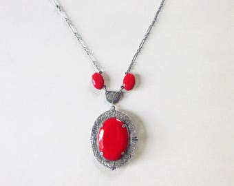 Lipstick red Art Deco ornate filgree rhodium plate and red glass gems 22 inch necklace with pendant