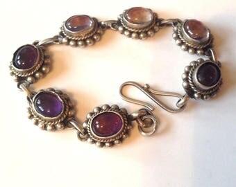"Sterling Silver 21.6g Beaded Braided 11mm Linked Bezel Set Natural Purple Amethyst Gemstone Bracelet 7"" Inches"