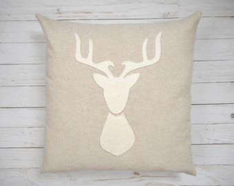 Deer Pillow Cover, deer head silhouette, antler pillow, stag silhouette, deer pillow case, woodland decor, woodland animals, Custom Colors