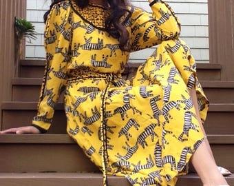 Vintage tribal midi dress.  Size M