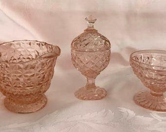 Three Piece Pink Carnival Glass Set