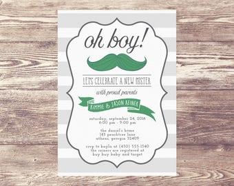Printed Oh Boy! Mustache Baby Shower Invitation, Baby Shower Invite, Couples Baby Shower Invitation, Baby Sprinkle Invite, Mustache Shower