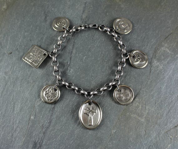Celtic Charm Bracelet ~ Artisan Handcrafted ~ Celtic Knot ~ Celtic Cross ~ Swirl ~ Claddagh ~ Celtic Trinity ~ Triple Spiral ~ Celtic Square