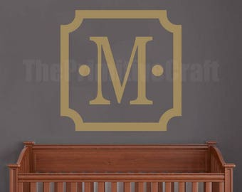 Monogram Wall Decal - Scalloped Square, Wall Decor, Vinyl Wall Decor, Bedroom Decal, Nursery Decor, Family Monogram, Name Decal