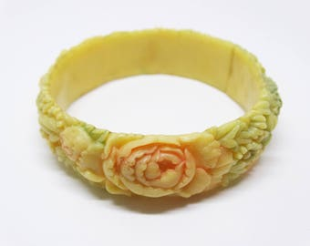 1930s Rose Floral Carved Pastel Overdyed Resin Wash Celluloid Bangle