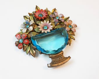 1930s Blumenthal Painted Metal and Glass Flower Brooch Rhinestone Flower Basket Enamel Metal