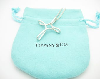 "Tiffany & Co. Sterling Silver Elsa Peretti Infinity 36mm By 28mm Pendant Cross Necklace 16"" - Pouch"
