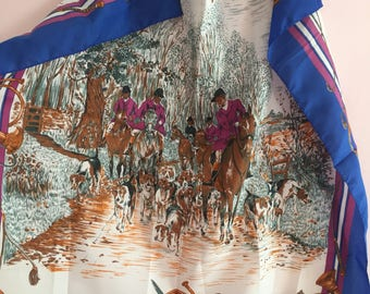 Norma Dori blue silk hunting scene scarf