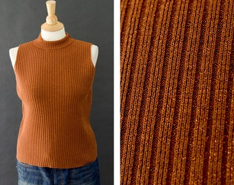 Sleeveless Turtleneck Shirt, Metallic Brown Shirt, Basic Turtleneck, 90s Fashion,90s Ribbed Tank Top,  Minimalist Tank, Women's Size Small
