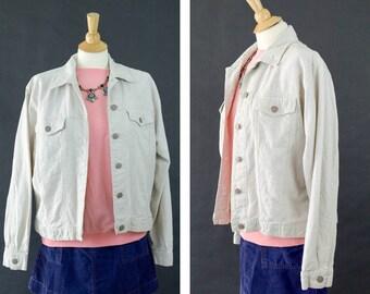 Vintage Linen Jacket, Bill Blass Jeans Jacket, Lightweight Layering Jacket, Cream Denim Crop Jacket, Women's Size Medium Coat