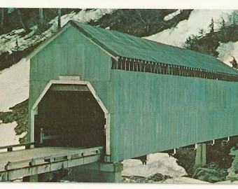 1960s Chrome Postcard- View of Cover Bridge Crossing Texas Creek near Hyder, Alaska, AK.~ Free Shipping ~ Extremely Small Town PC