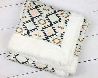 Baby blanket, Tribal Southwest Minky blanket, Navajo blanket, throw blanket baby shower gift personalized Aztec blanket, pink black blanket
