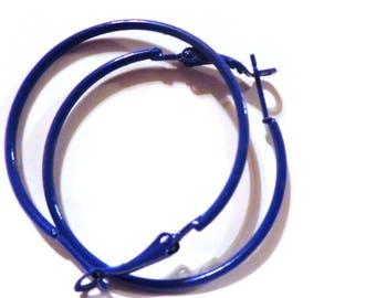 Blue Hoop Earrings Classic Hoop Deep Blue Hoop Earrings Thin Hoops 2 inch