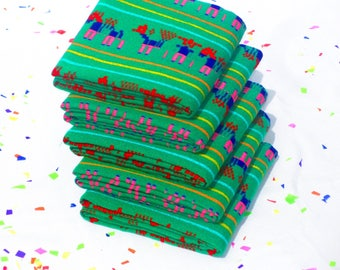 Green Fabric by the Yard, Mexican embroidered, Fabrics Mexicans, Fiesta decoration, Dia de los muertos decor, Tela Mexicana, FABRIC07