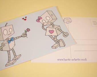 Robot love postcard - original cartoon, Anniversary card, Valentine's card, wedding card