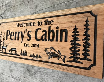 Outdoor Wood Sign, Carved Cabin Signs, Last Name Family Sign, Address Plaque, Whitetail Buck, Deer, Bass Fish, Hunting,  Benchmark Signs