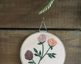 Hand Embroidered Rose Boquet Wall Art // modern embroidery // flowers // florals // blush pink // contemporary // bloom // gallery wall //