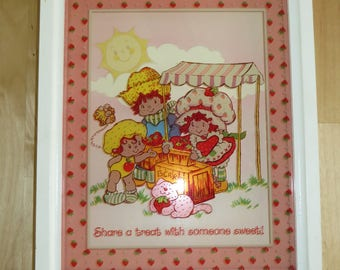 Vintage Strawberry Shortcake glass art by Lu Lu's - 'Share a treat with someone sweet!'