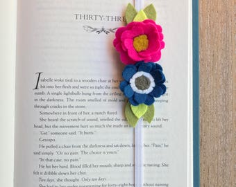 Felt Bookmark, Felt Flower Bookmark, felt flowers, journal, birthday gift, friend gift, teacher gift, summer reading, bookworm
