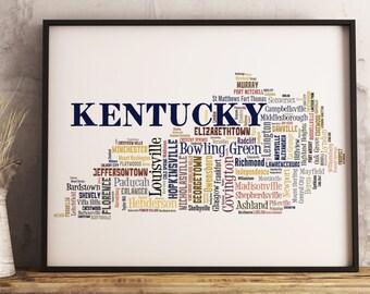 Kentucky Map Art, Kentucky Art Print, Kentucky City Map, Kentucky Typography Art, Kentucky Poster Print, Kentucky Word Cloud
