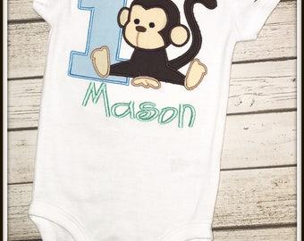 Personalized Monkey Themed Birthday Shirt/Bodysuit