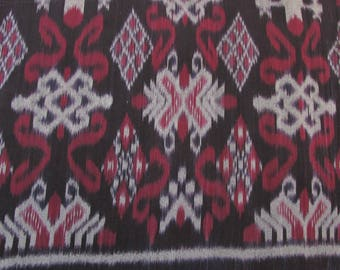 Handwoven 100% Cotton Ikat fabric, Black, Maroon, Gray; Yardage
