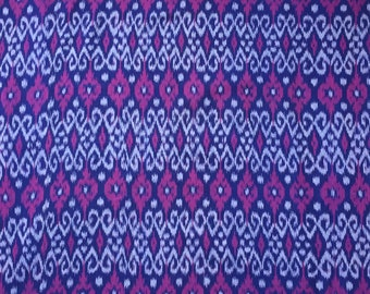 Handwoven Cotton Ikat, Blue, Gray and Violet; By the yard