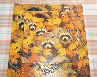 Springbok Roving Rascals Puzzle Vintage Raccoons Among Autumn Foliage Jigsaw Puzzle 500 Pieces PZL2084 With Box