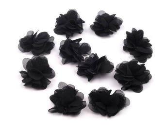 Set of 10 small flowers black veil
