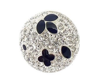 Black button and rhinestone diamond 24 mm
