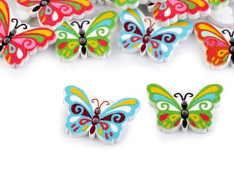 10 Wooden Decorative Button Butterfly
