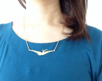 Necklace swallow bird brass pendant matte gold raw