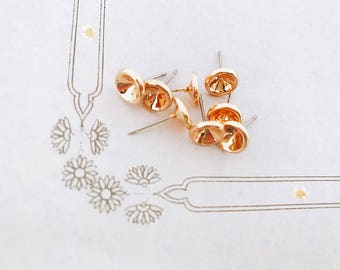 5 pairs (10pcs) Support rhinestone dangle earrings rose gold plated 16 k set for 6mm beads