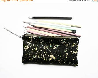 20% OFF SUMMER SALE/ Galaxy/ pencil case with hand painted galaxy print neon yellow silver pouch back to school