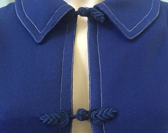 Cool blue Vintage 70's cape / one size