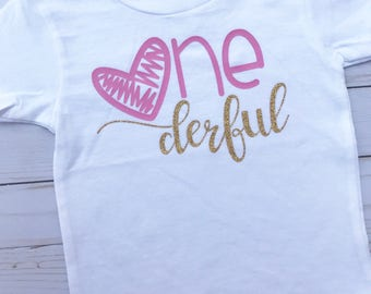 ONEderful first birthday girl shirt